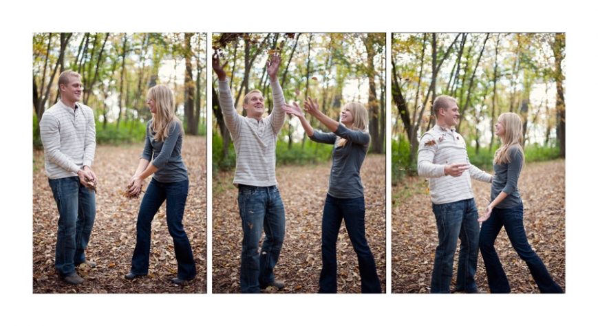 MN Engagement Couple Throwing Leaves