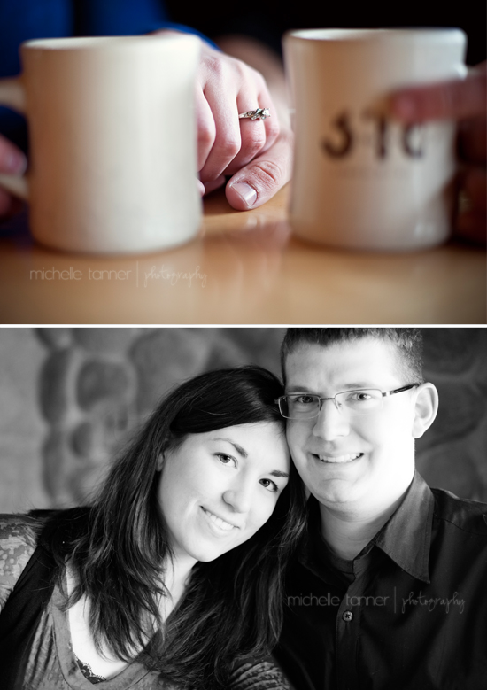 Couple enjoying hot coco at 318 Cafe in Downtown Excelsior during E-Session